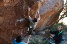 Bouldering in Hueco Tanks on 01/18/2020 with Blue Lizard Climbing and Yoga  Filename: SRM_20200118_1111010.jpg Aperture: f/4.0 Shutter Speed: 1/250 Body: Canon EOS-1D Mark II Lens: Canon EF 50mm f/1.8 II