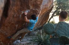 Bouldering in Hueco Tanks on 01/18/2020 with Blue Lizard Climbing and Yoga  Filename: SRM_20200118_1118020.jpg Aperture: f/4.5 Shutter Speed: 1/250 Body: Canon EOS-1D Mark II Lens: Canon EF 50mm f/1.8 II