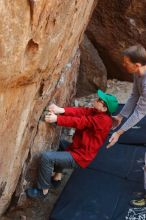 Bouldering in Hueco Tanks on 01/19/2020 with Blue Lizard Climbing and Yoga  Filename: SRM_20200119_1240470.jpg Aperture: f/4.5 Shutter Speed: 1/250 Body: Canon EOS-1D Mark II Lens: Canon EF 50mm f/1.8 II