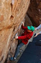Bouldering in Hueco Tanks on 01/19/2020 with Blue Lizard Climbing and Yoga  Filename: SRM_20200119_1240520.jpg Aperture: f/5.0 Shutter Speed: 1/250 Body: Canon EOS-1D Mark II Lens: Canon EF 50mm f/1.8 II