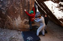 Bouldering in Hueco Tanks on 01/19/2020 with Blue Lizard Climbing and Yoga  Filename: SRM_20200119_1331240.jpg Aperture: f/4.5 Shutter Speed: 1/320 Body: Canon EOS-1D Mark II Lens: Canon EF 16-35mm f/2.8 L