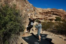 Bouldering in Hueco Tanks on 01/26/2020 with Blue Lizard Climbing and Yoga  Filename: SRM_20200126_1049130.jpg Aperture: f/8.0 Shutter Speed: 1/400 Body: Canon EOS-1D Mark II Lens: Canon EF 16-35mm f/2.8 L
