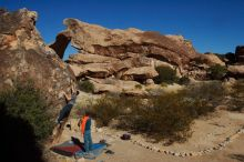 Bouldering in Hueco Tanks on 01/29/2020 with Blue Lizard Climbing and Yoga  Filename: SRM_20200129_1116490.jpg Aperture: f/22.0 Shutter Speed: 1/640 Body: Canon EOS-1D Mark II Lens: Canon EF 16-35mm f/2.8 L
