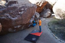 Bouldering in Hueco Tanks on 01/29/2020 with Blue Lizard Climbing and Yoga  Filename: SRM_20200129_1118080.jpg Aperture: f/8.0 Shutter Speed: 1/250 Body: Canon EOS-1D Mark II Lens: Canon EF 16-35mm f/2.8 L