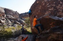 Bouldering in Hueco Tanks on 01/29/2020 with Blue Lizard Climbing and Yoga  Filename: SRM_20200129_1125220.jpg Aperture: f/9.0 Shutter Speed: 1/250 Body: Canon EOS-1D Mark II Lens: Canon EF 16-35mm f/2.8 L