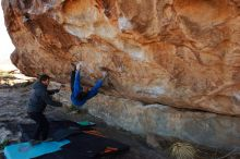 Bouldering in Hueco Tanks on 02/01/2020 with Blue Lizard Climbing and Yoga  Filename: SRM_20200201_1045530.jpg Aperture: f/6.3 Shutter Speed: 1/250 Body: Canon EOS-1D Mark II Lens: Canon EF 16-35mm f/2.8 L