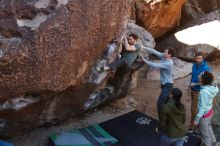 Bouldering in Hueco Tanks on 02/16/2020 with Blue Lizard Climbing and Yoga  Filename: SRM_20200216_1035500.jpg Aperture: f/5.0 Shutter Speed: 1/250 Body: Canon EOS-1D Mark II Lens: Canon EF 16-35mm f/2.8 L