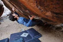 Bouldering in Hueco Tanks on 02/21/2020 with Blue Lizard Climbing and Yoga  Filename: SRM_20200221_1510500.jpg Aperture: f/5.6 Shutter Speed: 1/250 Body: Canon EOS-1D Mark II Lens: Canon EF 16-35mm f/2.8 L