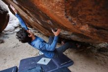 Bouldering in Hueco Tanks on 02/21/2020 with Blue Lizard Climbing and Yoga  Filename: SRM_20200221_1510501.jpg Aperture: f/5.6 Shutter Speed: 1/250 Body: Canon EOS-1D Mark II Lens: Canon EF 16-35mm f/2.8 L
