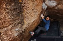 Bouldering in Hueco Tanks on 02/21/2020 with Blue Lizard Climbing and Yoga  Filename: SRM_20200221_1606540.jpg Aperture: f/6.3 Shutter Speed: 1/250 Body: Canon EOS-1D Mark II Lens: Canon EF 16-35mm f/2.8 L