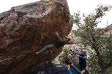 Bouldering in Hueco Tanks on 02/21/2020 with Blue Lizard Climbing and Yoga  Filename: SRM_20200221_1824490.jpg Aperture: f/5.0 Shutter Speed: 1/250 Body: Canon EOS-1D Mark II Lens: Canon EF 16-35mm f/2.8 L