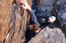 Bouldering in Hueco Tanks on 02/25/2020 with Blue Lizard Climbing and Yoga  Filename: SRM_20200225_1113530.jpg Aperture: f/6.3 Shutter Speed: 1/250 Body: Canon EOS-1D Mark II Lens: Canon EF 16-35mm f/2.8 L