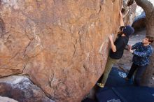 Bouldering in Hueco Tanks on 02/25/2020 with Blue Lizard Climbing and Yoga  Filename: SRM_20200225_1118070.jpg Aperture: f/4.0 Shutter Speed: 1/250 Body: Canon EOS-1D Mark II Lens: Canon EF 16-35mm f/2.8 L