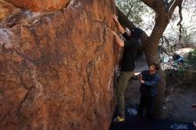 Bouldering in Hueco Tanks on 02/25/2020 with Blue Lizard Climbing and Yoga  Filename: SRM_20200225_1118120.jpg Aperture: f/6.3 Shutter Speed: 1/250 Body: Canon EOS-1D Mark II Lens: Canon EF 16-35mm f/2.8 L