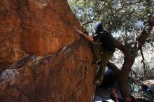 Bouldering in Hueco Tanks on 02/25/2020 with Blue Lizard Climbing and Yoga  Filename: SRM_20200225_1118340.jpg Aperture: f/9.0 Shutter Speed: 1/250 Body: Canon EOS-1D Mark II Lens: Canon EF 16-35mm f/2.8 L