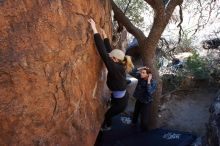 Bouldering in Hueco Tanks on 02/25/2020 with Blue Lizard Climbing and Yoga  Filename: SRM_20200225_1119050.jpg Aperture: f/6.3 Shutter Speed: 1/250 Body: Canon EOS-1D Mark II Lens: Canon EF 16-35mm f/2.8 L