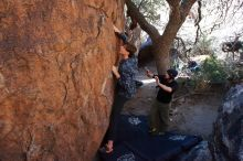 Bouldering in Hueco Tanks on 02/25/2020 with Blue Lizard Climbing and Yoga  Filename: SRM_20200225_1120130.jpg Aperture: f/5.6 Shutter Speed: 1/250 Body: Canon EOS-1D Mark II Lens: Canon EF 16-35mm f/2.8 L