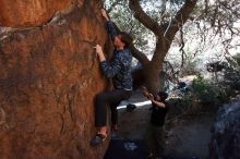 Bouldering in Hueco Tanks on 02/25/2020 with Blue Lizard Climbing and Yoga  Filename: SRM_20200225_1120220.jpg Aperture: f/8.0 Shutter Speed: 1/250 Body: Canon EOS-1D Mark II Lens: Canon EF 16-35mm f/2.8 L
