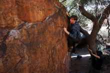 Bouldering in Hueco Tanks on 02/25/2020 with Blue Lizard Climbing and Yoga  Filename: SRM_20200225_1120260.jpg Aperture: f/8.0 Shutter Speed: 1/250 Body: Canon EOS-1D Mark II Lens: Canon EF 16-35mm f/2.8 L