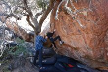 Bouldering in Hueco Tanks on 02/25/2020 with Blue Lizard Climbing and Yoga  Filename: SRM_20200225_1125270.jpg Aperture: f/5.0 Shutter Speed: 1/250 Body: Canon EOS-1D Mark II Lens: Canon EF 16-35mm f/2.8 L