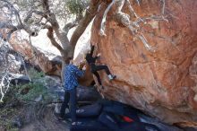 Bouldering in Hueco Tanks on 02/25/2020 with Blue Lizard Climbing and Yoga  Filename: SRM_20200225_1125280.jpg Aperture: f/5.0 Shutter Speed: 1/250 Body: Canon EOS-1D Mark II Lens: Canon EF 16-35mm f/2.8 L