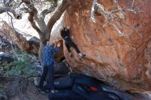Bouldering in Hueco Tanks on 02/25/2020 with Blue Lizard Climbing and Yoga  Filename: SRM_20200225_1125350.jpg Aperture: f/5.0 Shutter Speed: 1/250 Body: Canon EOS-1D Mark II Lens: Canon EF 16-35mm f/2.8 L
