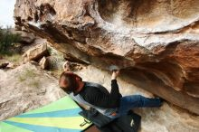 Bouldering in Hueco Tanks on 10/19/2018 with Blue Lizard Climbing and Yoga  Filename: SRM_20181019_0953140.jpg Aperture: f/5.6 Shutter Speed: 1/500 Body: Canon EOS-1D Mark II Lens: Canon EF 16-35mm f/2.8 L