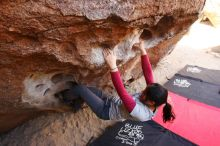 Bouldering in Hueco Tanks on 03/09/2019 with Blue Lizard Climbing and Yoga  Filename: SRM_20190309_1058340.jpg Aperture: f/5.6 Shutter Speed: 1/125 Body: Canon EOS-1D Mark II Lens: Canon EF 16-35mm f/2.8 L