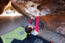 Bouldering in Hueco Tanks on 03/09/2019 with Blue Lizard Climbing and Yoga  Filename: SRM_20190309_1102270.jpg Aperture: f/5.6 Shutter Speed: 1/100 Body: Canon EOS-1D Mark II Lens: Canon EF 16-35mm f/2.8 L