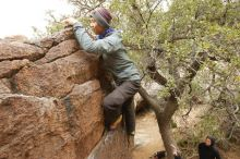 Bouldering in Hueco Tanks on 03/16/2019 with Blue Lizard Climbing and Yoga  Filename: SRM_20190316_1121530.jpg Aperture: f/6.3 Shutter Speed: 1/125 Body: Canon EOS-1D Mark II Lens: Canon EF 16-35mm f/2.8 L