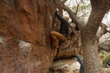 Bouldering in Hueco Tanks on 03/16/2019 with Blue Lizard Climbing and Yoga  Filename: SRM_20190316_1130420.jpg Aperture: f/5.0 Shutter Speed: 1/100 Body: Canon EOS-1D Mark II Lens: Canon EF 16-35mm f/2.8 L
