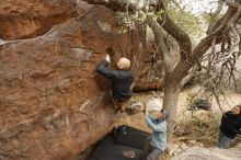 Bouldering in Hueco Tanks on 03/16/2019 with Blue Lizard Climbing and Yoga  Filename: SRM_20190316_1135560.jpg Aperture: f/5.0 Shutter Speed: 1/100 Body: Canon EOS-1D Mark II Lens: Canon EF 16-35mm f/2.8 L