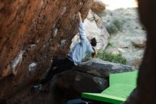 Bouldering in Hueco Tanks on 03/20/2019 with Blue Lizard Climbing and Yoga  Filename: SRM_20190320_0901390.jpg Aperture: f/2.8 Shutter Speed: 1/640 Body: Canon EOS-1D Mark II Lens: Canon EF 50mm f/1.8 II