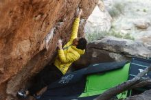 Bouldering in Hueco Tanks on 03/20/2019 with Blue Lizard Climbing and Yoga  Filename: SRM_20190320_0922340.jpg Aperture: f/3.5 Shutter Speed: 1/250 Body: Canon EOS-1D Mark II Lens: Canon EF 50mm f/1.8 II