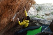 Bouldering in Hueco Tanks on 03/20/2019 with Blue Lizard Climbing and Yoga  Filename: SRM_20190320_0922400.jpg Aperture: f/3.5 Shutter Speed: 1/320 Body: Canon EOS-1D Mark II Lens: Canon EF 50mm f/1.8 II