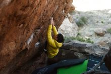 Bouldering in Hueco Tanks on 03/20/2019 with Blue Lizard Climbing and Yoga  Filename: SRM_20190320_0922401.jpg Aperture: f/3.5 Shutter Speed: 1/400 Body: Canon EOS-1D Mark II Lens: Canon EF 50mm f/1.8 II