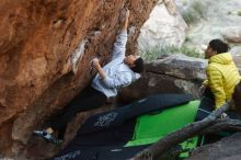 Bouldering in Hueco Tanks on 03/20/2019 with Blue Lizard Climbing and Yoga  Filename: SRM_20190320_0924440.jpg Aperture: f/3.5 Shutter Speed: 1/320 Body: Canon EOS-1D Mark II Lens: Canon EF 50mm f/1.8 II