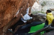 Bouldering in Hueco Tanks on 03/20/2019 with Blue Lizard Climbing and Yoga  Filename: SRM_20190320_0924441.jpg Aperture: f/3.5 Shutter Speed: 1/320 Body: Canon EOS-1D Mark II Lens: Canon EF 50mm f/1.8 II