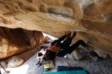 Bouldering in Hueco Tanks on 03/20/2019 with Blue Lizard Climbing and Yoga  Filename: SRM_20190320_1557200.jpg Aperture: f/5.6 Shutter Speed: 1/200 Body: Canon EOS-1D Mark II Lens: Canon EF 16-35mm f/2.8 L