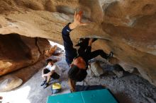 Bouldering in Hueco Tanks on 03/20/2019 with Blue Lizard Climbing and Yoga  Filename: SRM_20190320_1557230.jpg Aperture: f/5.6 Shutter Speed: 1/200 Body: Canon EOS-1D Mark II Lens: Canon EF 16-35mm f/2.8 L