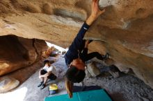 Bouldering in Hueco Tanks on 03/20/2019 with Blue Lizard Climbing and Yoga  Filename: SRM_20190320_1557231.jpg Aperture: f/5.6 Shutter Speed: 1/200 Body: Canon EOS-1D Mark II Lens: Canon EF 16-35mm f/2.8 L