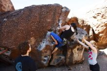 Bouldering in Hueco Tanks on 03/29/2019 with Blue Lizard Climbing and Yoga  Filename: SRM_20190329_0930030.jpg Aperture: f/5.6 Shutter Speed: 1/500 Body: Canon EOS-1D Mark II Lens: Canon EF 16-35mm f/2.8 L