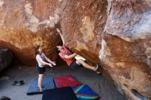 Bouldering in Hueco Tanks on 03/29/2019 with Blue Lizard Climbing and Yoga  Filename: SRM_20190329_0935300.jpg Aperture: f/5.6 Shutter Speed: 1/320 Body: Canon EOS-1D Mark II Lens: Canon EF 16-35mm f/2.8 L