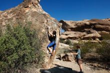 Bouldering in Hueco Tanks on 03/29/2019 with Blue Lizard Climbing and Yoga  Filename: SRM_20190329_0940450.jpg Aperture: f/5.6 Shutter Speed: 1/1000 Body: Canon EOS-1D Mark II Lens: Canon EF 16-35mm f/2.8 L