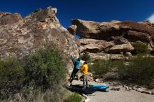 Bouldering in Hueco Tanks on 04/13/2019 with Blue Lizard Climbing and Yoga  Filename: SRM_20190413_0948130.jpg Aperture: f/5.6 Shutter Speed: 1/500 Body: Canon EOS-1D Mark II Lens: Canon EF 16-35mm f/2.8 L