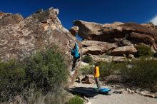 Bouldering in Hueco Tanks on 04/13/2019 with Blue Lizard Climbing and Yoga  Filename: SRM_20190413_0948360.jpg Aperture: f/5.6 Shutter Speed: 1/500 Body: Canon EOS-1D Mark II Lens: Canon EF 16-35mm f/2.8 L