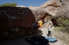 Bouldering in Hueco Tanks on 04/13/2019 with Blue Lizard Climbing and Yoga  Filename: SRM_20190413_0954260.jpg Aperture: f/5.6 Shutter Speed: 1/400 Body: Canon EOS-1D Mark II Lens: Canon EF 16-35mm f/2.8 L
