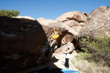 Bouldering in Hueco Tanks on 04/13/2019 with Blue Lizard Climbing and Yoga  Filename: SRM_20190413_0954380.jpg Aperture: f/5.6 Shutter Speed: 1/800 Body: Canon EOS-1D Mark II Lens: Canon EF 16-35mm f/2.8 L