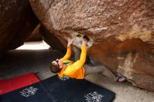 Bouldering in Hueco Tanks on 04/13/2019 with Blue Lizard Climbing and Yoga  Filename: SRM_20190413_1005100.jpg Aperture: f/5.6 Shutter Speed: 1/320 Body: Canon EOS-1D Mark II Lens: Canon EF 16-35mm f/2.8 L