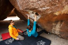 Bouldering in Hueco Tanks on 04/13/2019 with Blue Lizard Climbing and Yoga  Filename: SRM_20190413_1008050.jpg Aperture: f/5.6 Shutter Speed: 1/320 Body: Canon EOS-1D Mark II Lens: Canon EF 16-35mm f/2.8 L